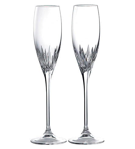 VERA WANG @ WEDGWOOD Duchesse set of 2 crystal champagne flutes