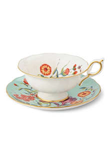 WEDGWOOD Harlequin Collection turquoise crocus teacup and saucer