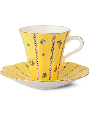 WEDGWOOD Harlequin Collection yellow butterfly teacup and saucer