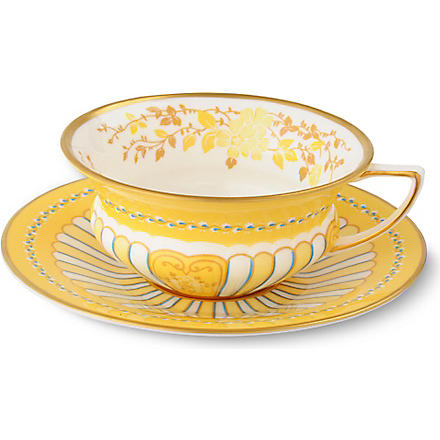 WEDGWOOD Harlequin Collection yellow ribbons teacup and saucer
