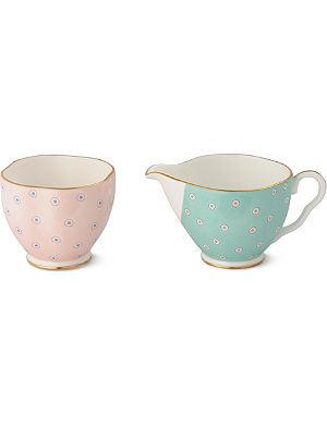 WEDGWOOD Polka Dot Tea Story sugar bowl and cream jug