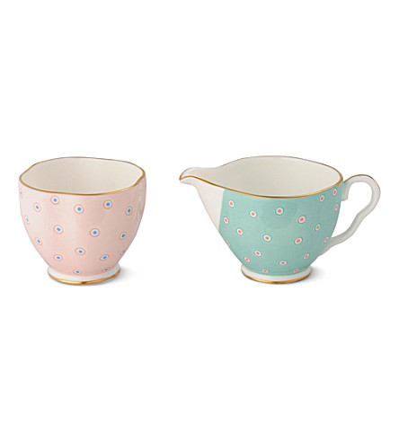 WEDGWOOD Polka Dot Tea Story sugar bowl and cream jug