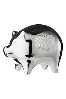 VERA WANG @ WEDGWOOD Silver-plated baby piggy bank