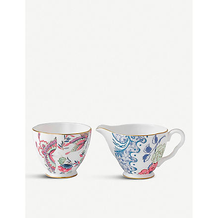 WEDGWOOD Butterfly Bloom cream jug and sugar bowl
