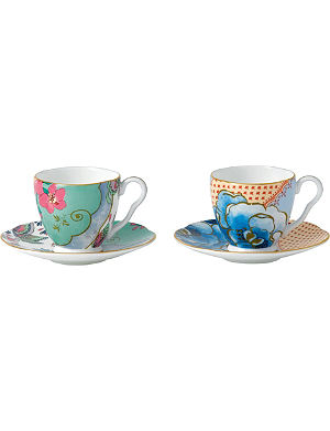 WEDGWOOD Set of two Butterfly Bloom teacup and saucer sets