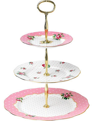 ROYAL ALBERT Cheeky Pink Vintage three-tier cake stand