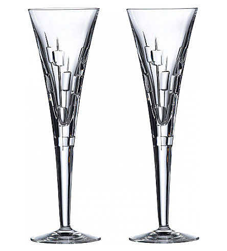ROYAL DOULTON Abacus Celebration crystal champagne flutes set of two