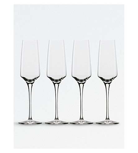 ROYAL DOULTON Set of four Royal Doulton sommelier champagne flutes
