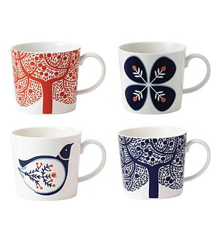 ROYAL DOULTON Fable illustrated porcelain mugs set of 4