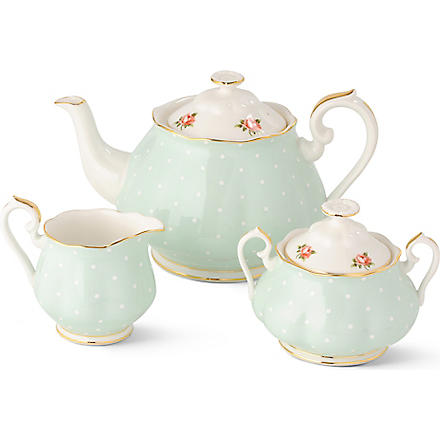 ROYAL ALBERT 1930 Polka Rose tea serving set