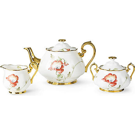 ROYAL ALBERT 1970 Poppy three-piece tea set