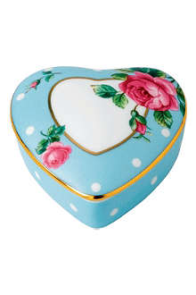 ROYAL ALBERT Polka Blue heart trinket box