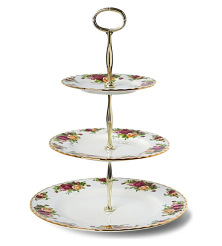 ROYAL ALBERT Old Country Roses three-tier cake stand