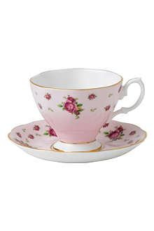 ROYAL ALBERT New Country Roses Pink espresso cup and saucer