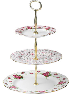 ROYAL ALBERT New Country Roses White three-tier cake stand
