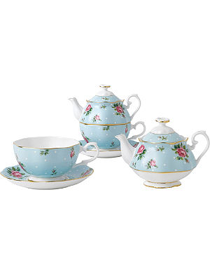 ROYAL ALBERT Polka Blue Vintage tea for one set