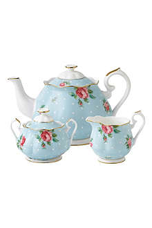 ROYAL ALBERT Polka Blue Vintage three-piece tea set