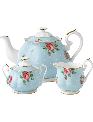 WEDGWOOD Polka Blue Vintage three-piece tea set