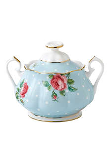 ROYAL ALBERT Polka Blue Vintage covered sugar bowl