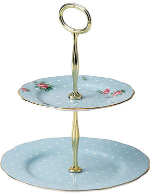 WEDGWOOD Polka Blue Vintage two-tier cake stand