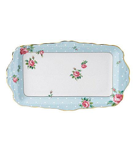 ROYAL ALBERT Polka Blue Vintage sandwich tray