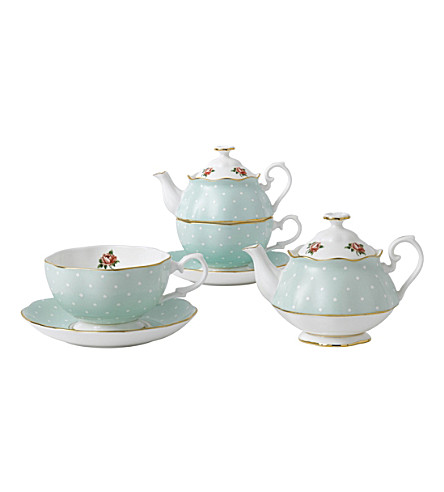 ROYAL ALBERT Polka Rose Vintage tea for one set