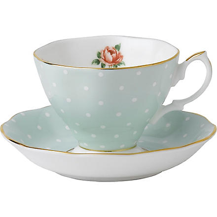 ROYAL ALBERT Polka Rose Vintage tea cup and saucer set