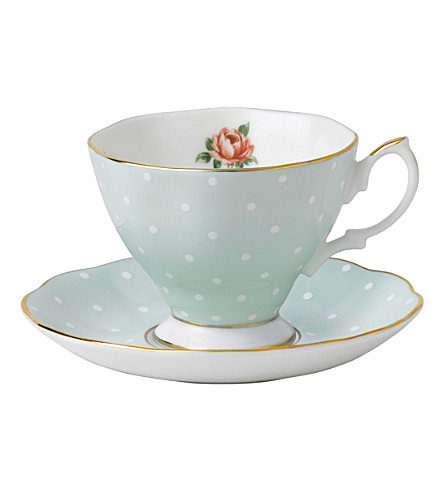 ROYAL ALBERT Polka Rose Vintage espresso cup and saucer set