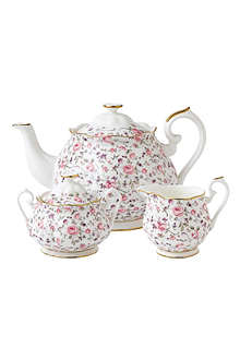 WEDGWOOD Royal Albert Rose Confetti Vintage three-piece tea set