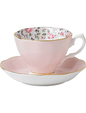 ROYAL ALBERT Royal Albert Rose Confetti Vintage tea cup and saucer set
