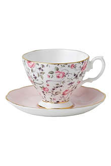 ROYAL ALBERT Rose Confetti teacup and saucer set