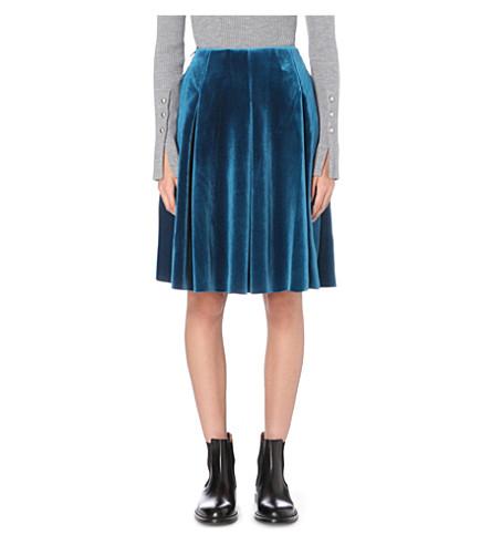 MO&CO. High-rise velvet skirt (Tile blue