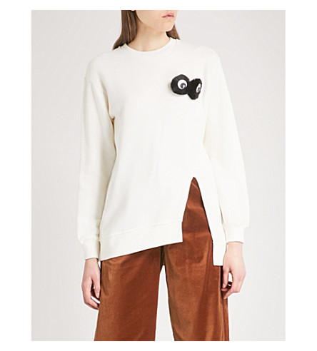 MO&CO. 'Furry Eyes' side-split jersey jumper (Gardenia