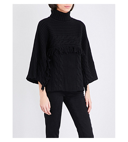 MO&CO. Fringed turtleneck knitted jumper (Black