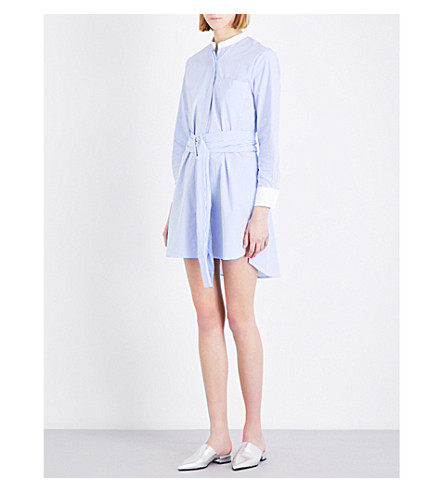 MO&CO. Belted cotton shirt dress (Blue+and+white