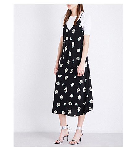 MO&CO. Floral slip dress (Pink+and+black