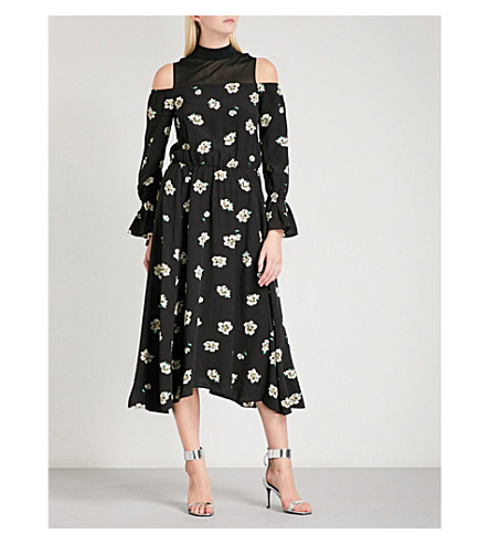 MO&CO. Cold-shoulder high-neck floral-print crepe dress (Pink+and+black