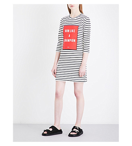 MO&CO. Text-print striped knitted mini dress (Black+and+white