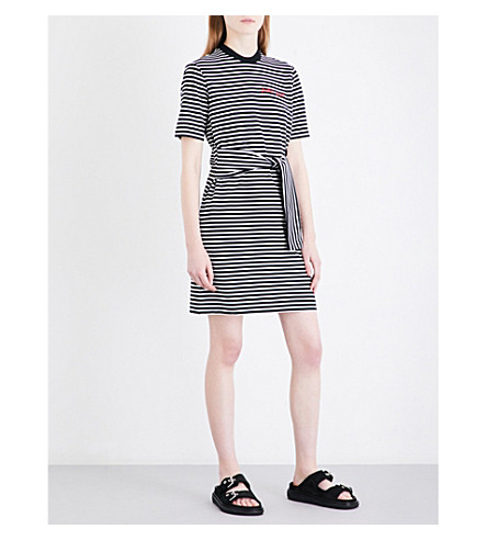 MO&CO. Text-embroidered self-tie stretch-cotton mini dress (Black+and+white