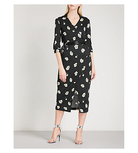 MO&CO. Floral-print woven wrap dress (Pink+and+black