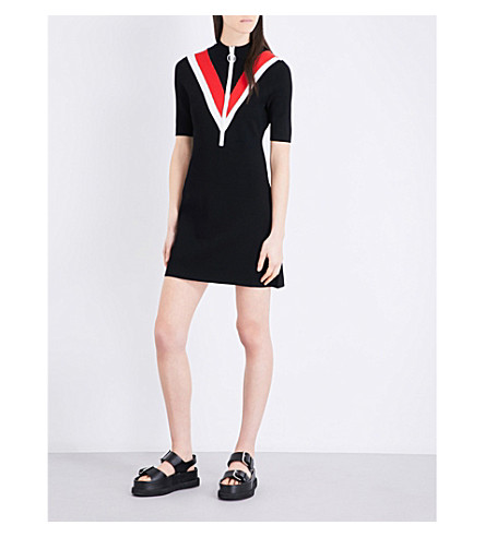 MO&CO. Colour block knitted dress (Black