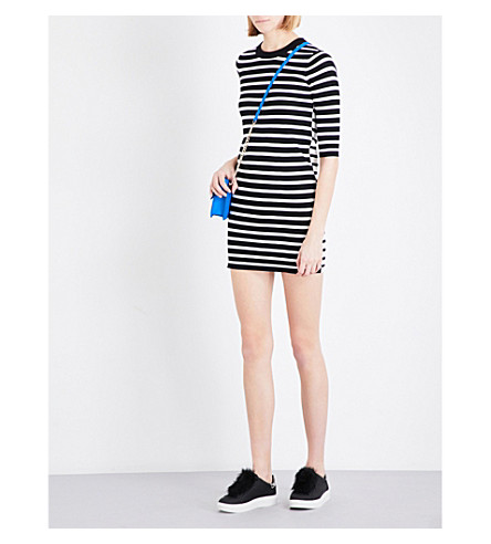 MO&CO. Stripe-print cotton-blend dress (Black+and+white