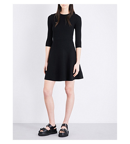 MO&CO. Fit-and-flare knitted dress (Black