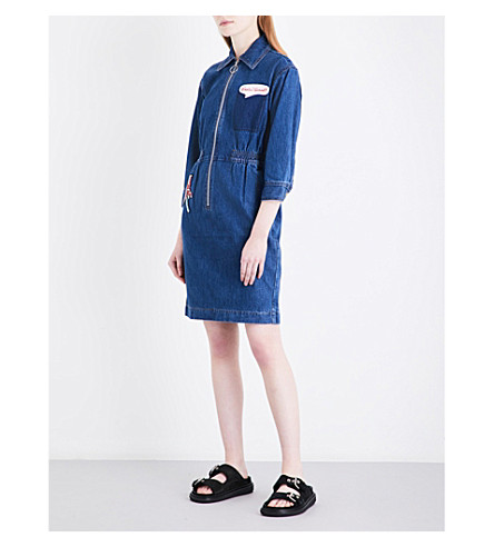 MO&CO. Patch-embroidered denim dress (Blue+denim