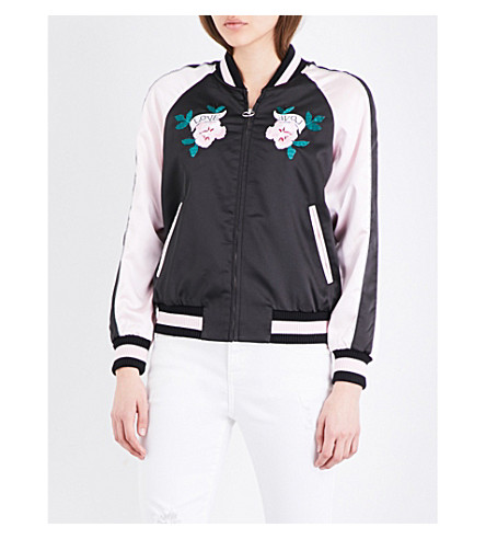 MO&CO. Embroidered satin bomber jacket (Black