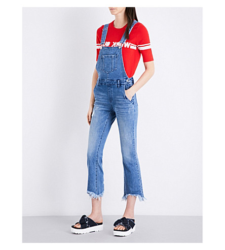 MO&CO. Raw-hem stretch-denim dungarees (Blue+denim