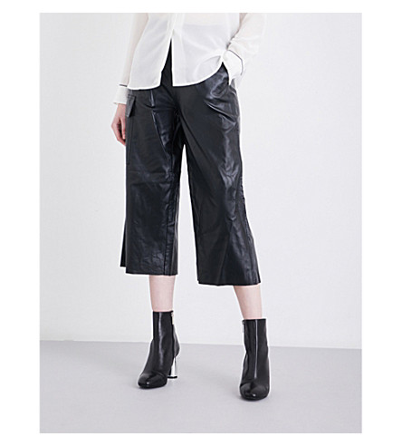 MO&CO. Wide cropped high-rise faux-leather trousers (Black