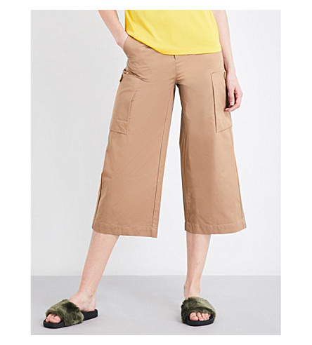MO&CO. Wide-legged cropped pants (Pale+olive+green