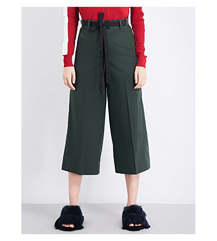 MO&CO. Wide-leg cropped cotton-twill trousers (Chive
