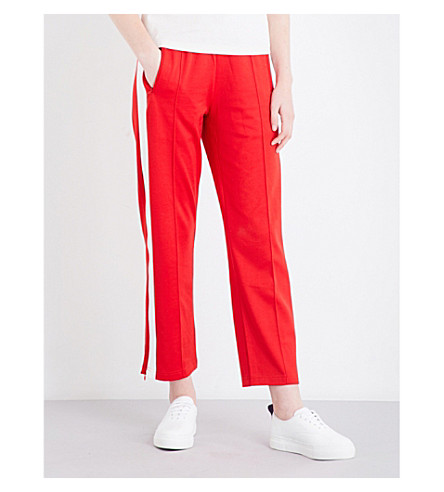 MO&CO. Striped knitted jogging bottoms (Fiery+red